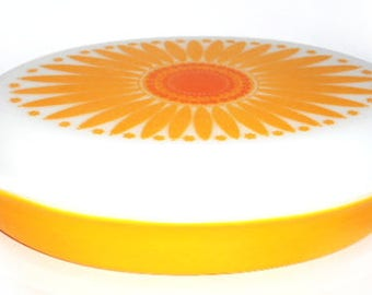Vintage Pyrex yellow orange Sunflower pattern divided casserole