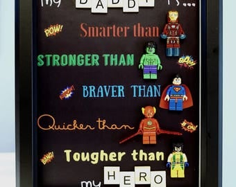 Lego, Superhero, gift, daddy, gift for him, lego minifigures, superhero lego, father's day gift, anniversary, Spider-man, inspired by LEGO