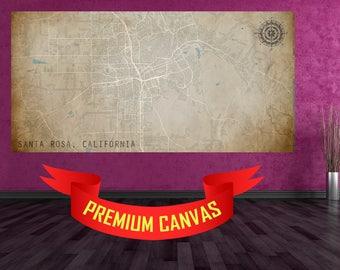SANTA ROSA California Canvas Map CA usa Map Print Poster Wall Art City Street Map Print Nursery Room Wall Office Decor Vintage Map Ca Art