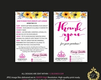 Paparazzi Care Instruction Card, Paparazzi Thank You Card, Personalized Paparazzi Card, Paparazzi Floral  Flower Card, Digital file PP05