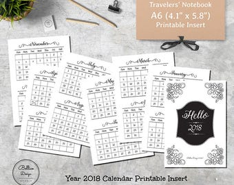2018 Year Planner, Calendar Planner, Black and White TN Inserts, A6 Travelers Notebook, A6 Size Planner, Printable Inserts TN, Sunday Start