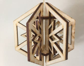 3D Wooden Snowflake Christmas Ornament