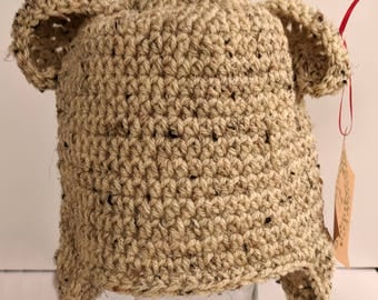 Crocheted Tan Child Size Teddy Bear Hat