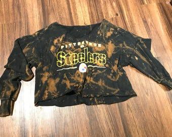 FADED Steelers Long Sleeve Crop Tee