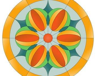 Stained glass pattern, Mosaic pattern, Mandala