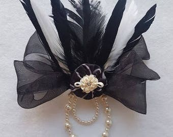 Black & White Feather Fascinator Wedding Fascinator with Pearls Steampunk Ribbon Hair Bow