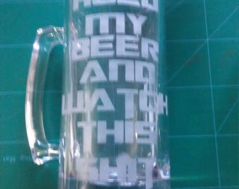 Custom etched and sandblasted MUGS  GLASSES mirrors etc