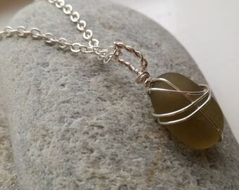 Handmade Yellow Sea Glass Pendant Necklace