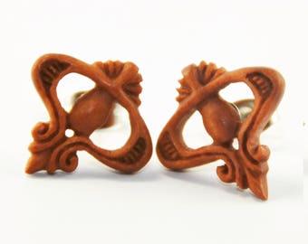 Pearl of Innocence Stirrup Earrings Stud Loop Posts - Sabo Wood