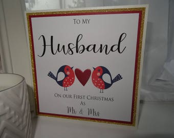 To my Husband on Our First Christmas as Mr & Mrs - Handmade Card