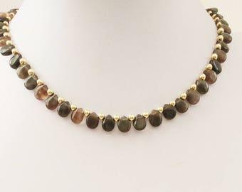Cats Eye Gemstone Teardrops Handmade Necklace. Goldfield beads