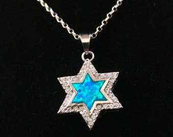 Sparkling Sterling Silver Star of David pendant  inlaid with cubic Zircon crystals CZ, and Blue Opal . Sterling Silver necklace