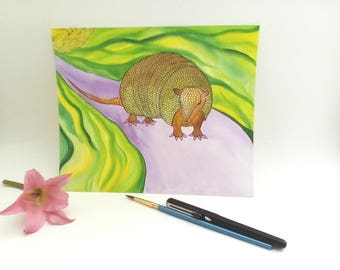 "Original Watercolor and Ink Illustration ""Release your Inner Armadillo"""