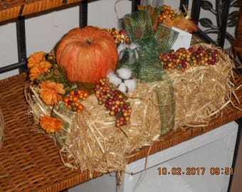 Fall hay bale home decor Accent