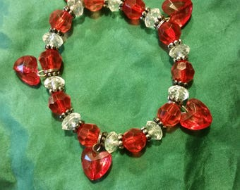 Red and White Heart/Valentine's Day Bracelet