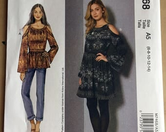 McCall's 7468 Cold Shoulder Tunic and Dress Pattern Size 6-14 Sewing Pattern