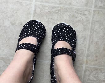 Mary Jane style slippers.