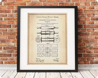 ROLLING PIN | 1891 | Patent Print | Kitchen Art | Kitchen Decor | Baking Art | Baking Patent | Chef Gift | Rolling Pin Print | Vintage Gift
