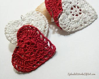 Large Love Festive Heart Shaped Earrings / Red lovable hearts / Motivation Jewelry / Loving / Crochet Earrings / Date night / Big Ethnic