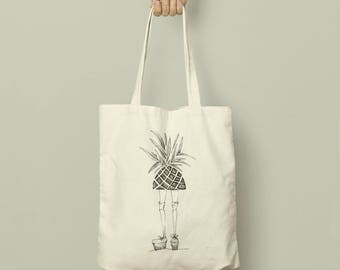 Pineapple Girl Linen Tote Bag