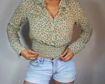 Vintage 90s  Floral Blouse / Australia Brand Lemisee / Long Sleeves / Women blouse