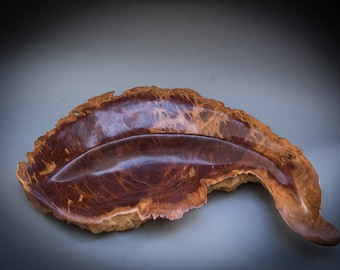 Red Mallee burl natural edge hand carved bowl