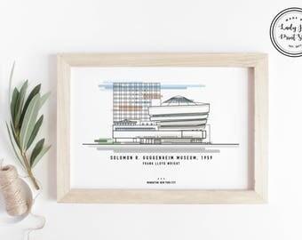 Frank Lloyd Wright Poster - Guggenheim Museum - Modern Art Print, Travel Poster, Illustration Print, Architecture Art Print