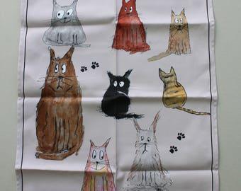 Cartoon Cat Tea Towel