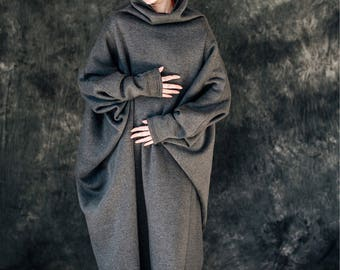 Batwing dress in charcoal