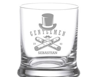"Leonardo Whisky glass engraving engraved Individually ""Gentlemen 1"" Wish name Whiskey Glass whiskey"