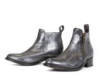 Handcrafted Women Ankle Bootie, Pewter Metallic Leather