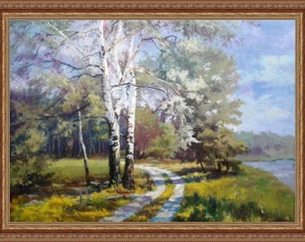 Oil painting on canvas Birches near the road Landscape with oil on canvas Canvas on stretcherPainting on canvas Landscape as a gift