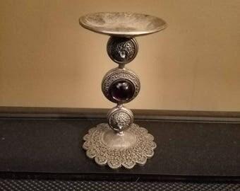 Vintage Pewter & Amethyst Candle Holder~Pillar Candle Holder~Amethyst Candle Holder~1990's Purple Vintage Candle Holder~