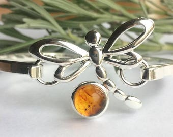 Beautiful silver plated amber dragonfly bangle, Outlander inspired, dragonfly in amber, sassenach