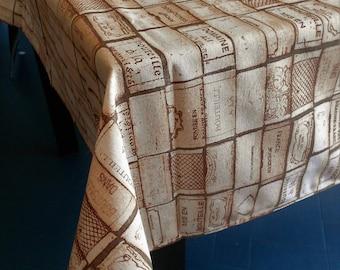 "Rectangular tablecloth 12 places, ""corks"""