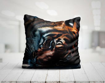 Tiger In Shadows Best Pillow Gifts, 18x18 Throw Pillow with Tiger, Tiger Lover Gift, Animal Gifts For Her, Made in USA