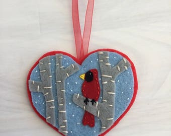 Christmas cardinal ornament heart red