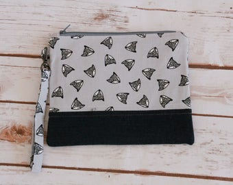 Gray fox and denim zipper pouch / wristlet