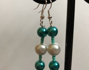 Teal and White Beaded Drop Earrings, Teal White Drop earrings, Teal White Beaded Earrings, Teal White Earrings, teal green white earrings