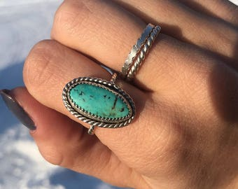 Size 7 stormy mountain turquoise ring