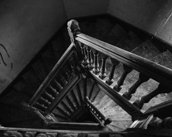 The stairs of the abandoned house, France,urbex,wall art, home decor