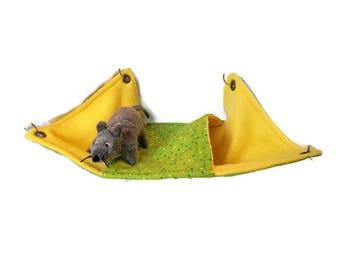 Rat Hammock- Rat Cage Accessories - Yellow Green Rat Peekaboo Fleece Hammock- Sugar Glider Hammock