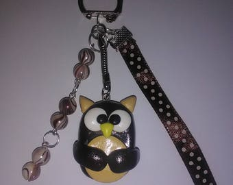 Brown and beige OWL polymer clay keychain