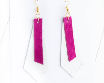 Pink + White Leather/Suede Mix {DOUBLE TAKE COLLECTION} - Feather Leather Statement Earrings