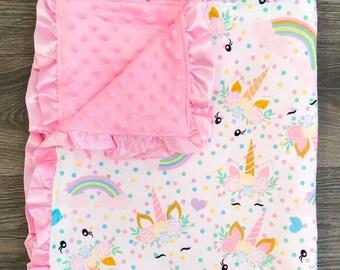 Baby Newborn Blanket Swaddle Sleeping Bag Soft Unicorn Blanket+Ruffle Edge