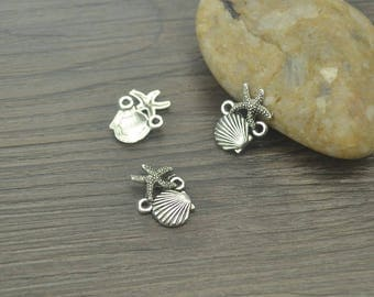 30 pcs shell charms, Sea charms, Tibetan silver charms, Metal charms, Alloy charms, Jewelry findings, Cute cheap charms, 18 mm x 14 mm, A27
