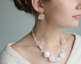 White raw crystals necklace Quartz necklace Moonstone necklace Hemimorphite necklace Gemstone necklace White necklace