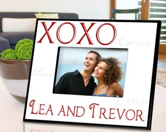 Personalized Hugs and Kisses Picture Frame - Wedding Photo Frames - Anniversary Picture Frames - Valentine's Day Photo Frame - Couples Frame