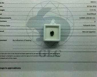 Natural certified unheated sapphire 2.13 ct VVS with certification