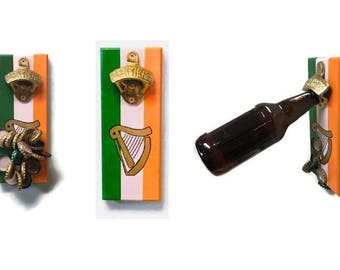 MARCH SALE** Wall OR Magnetic Mount Irish Flag Bottle Opener with Magnetic Cap Catcher
